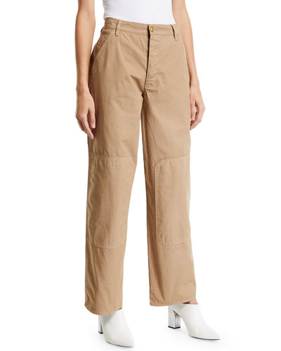 High-Waist Twill Carpenter Pants
