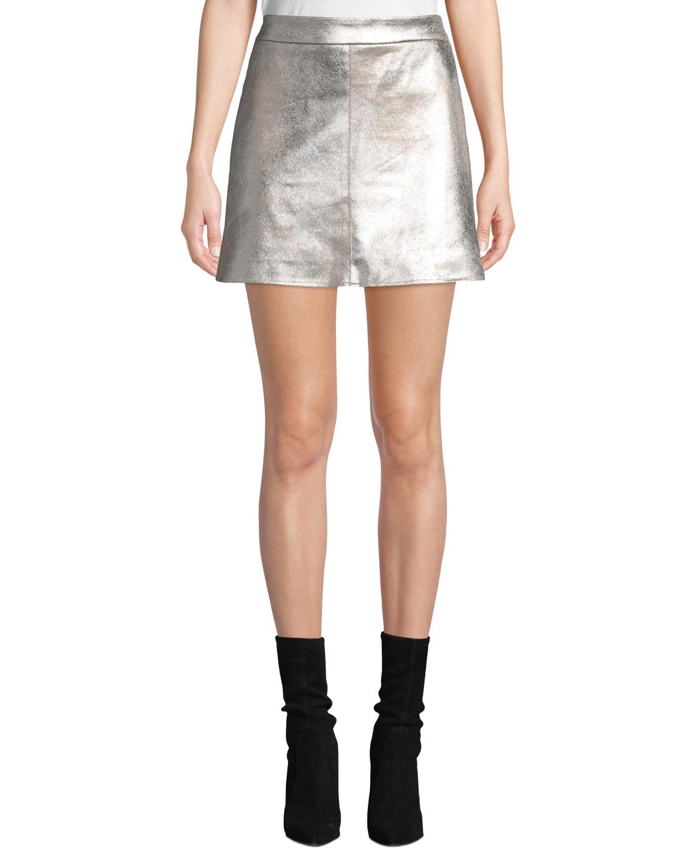 Keller Faux-Suede Short Skirt in Silver