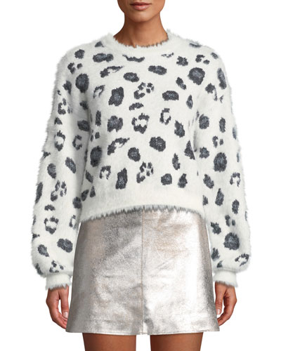 Huxley Leopard Jacquard Cropped Sweater