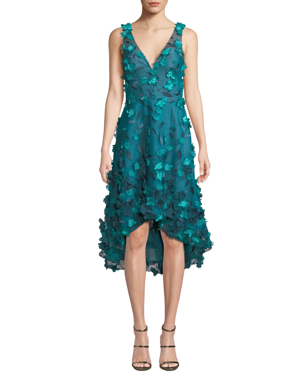 Sleeveless High-Low 3D Flower Dress