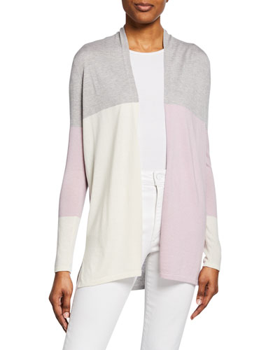 Superfine Cashmere-Blend Colorblock Cardigan