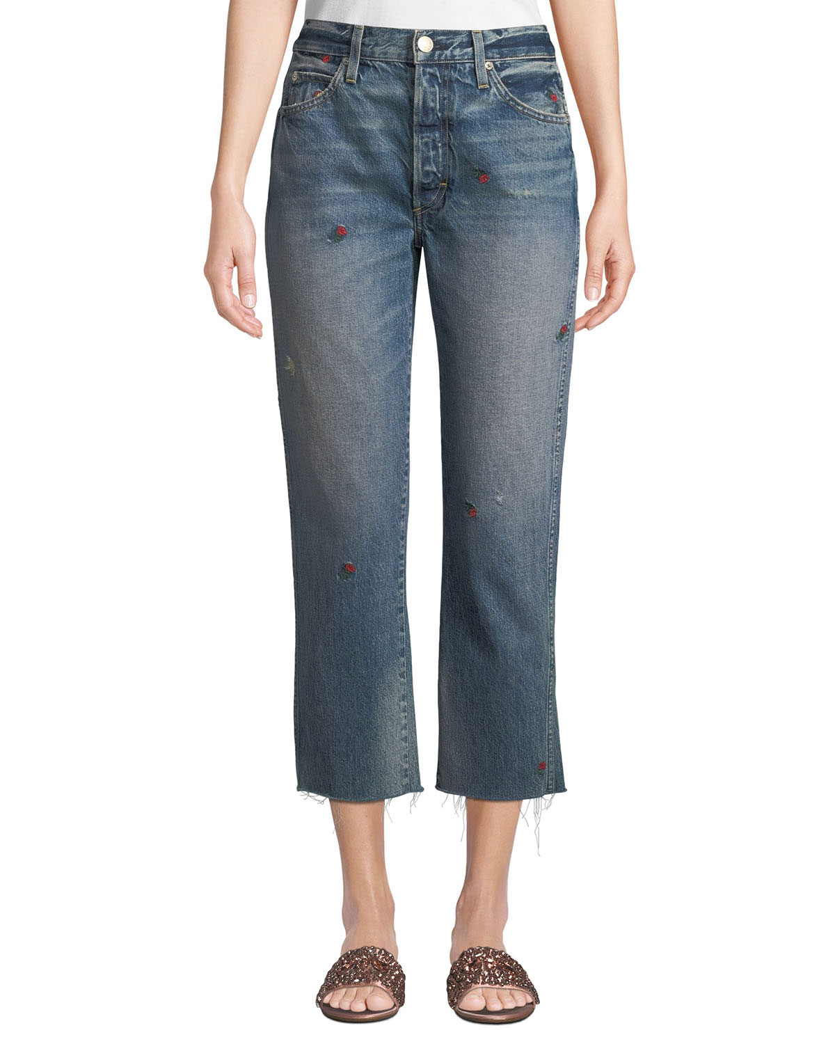 AMO DENIM Loverboy Embroidered Straight-Leg Cropped Jeans in Rosebud Embroid