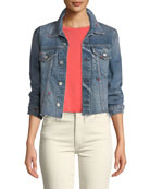 AMO Denim Pop Embroidered Cropped Denim Jacket
