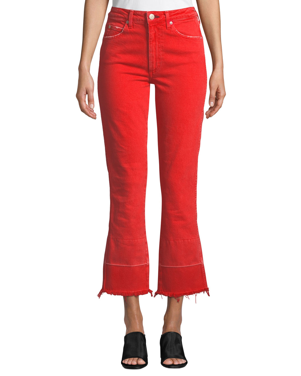 AMO DENIM Bella High-Rise Flare-Leg Jeans With Released Hem in Cayenne