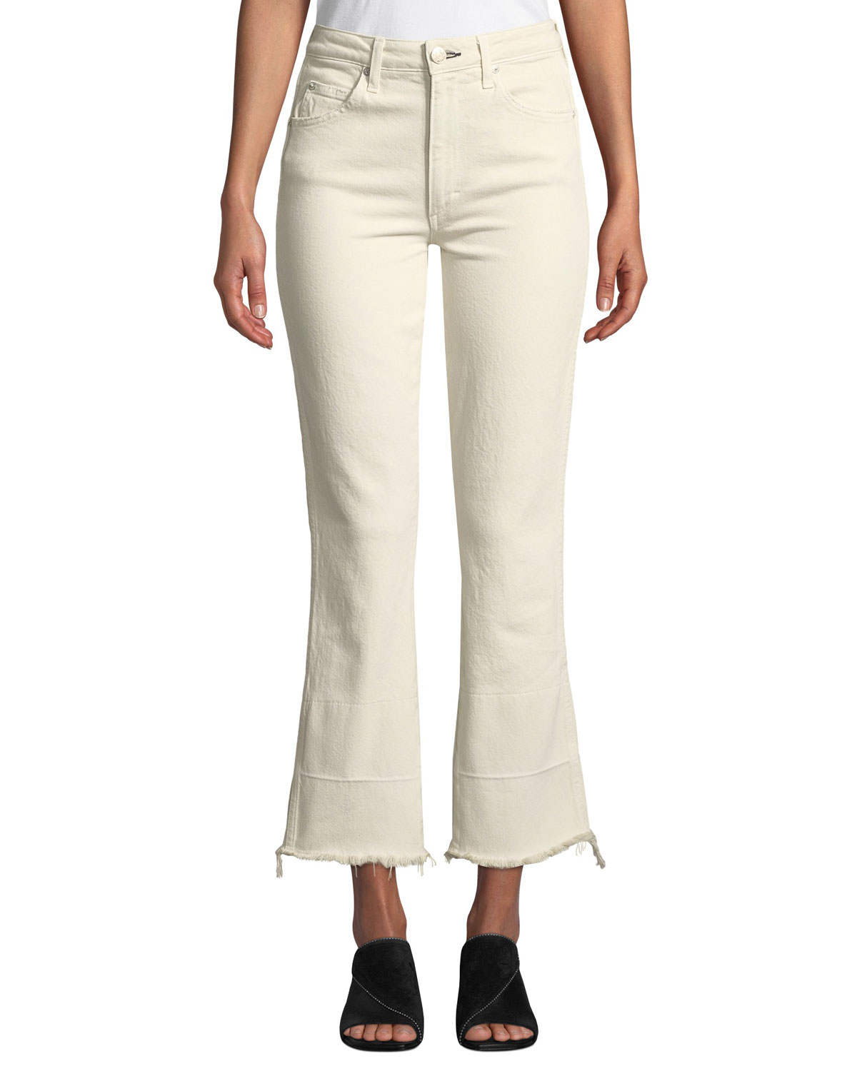 AMO DENIM Bella High-Rise Flare-Leg Jeans With Released Hem in Vintage White