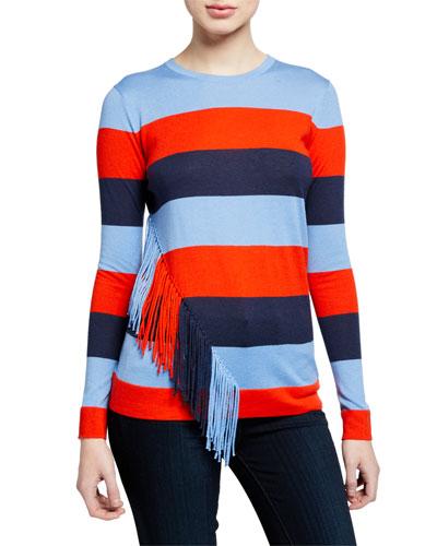 Striped Long-Sleeve Cashmere-Blend Slim-Fit Top w/ Fringe Trim