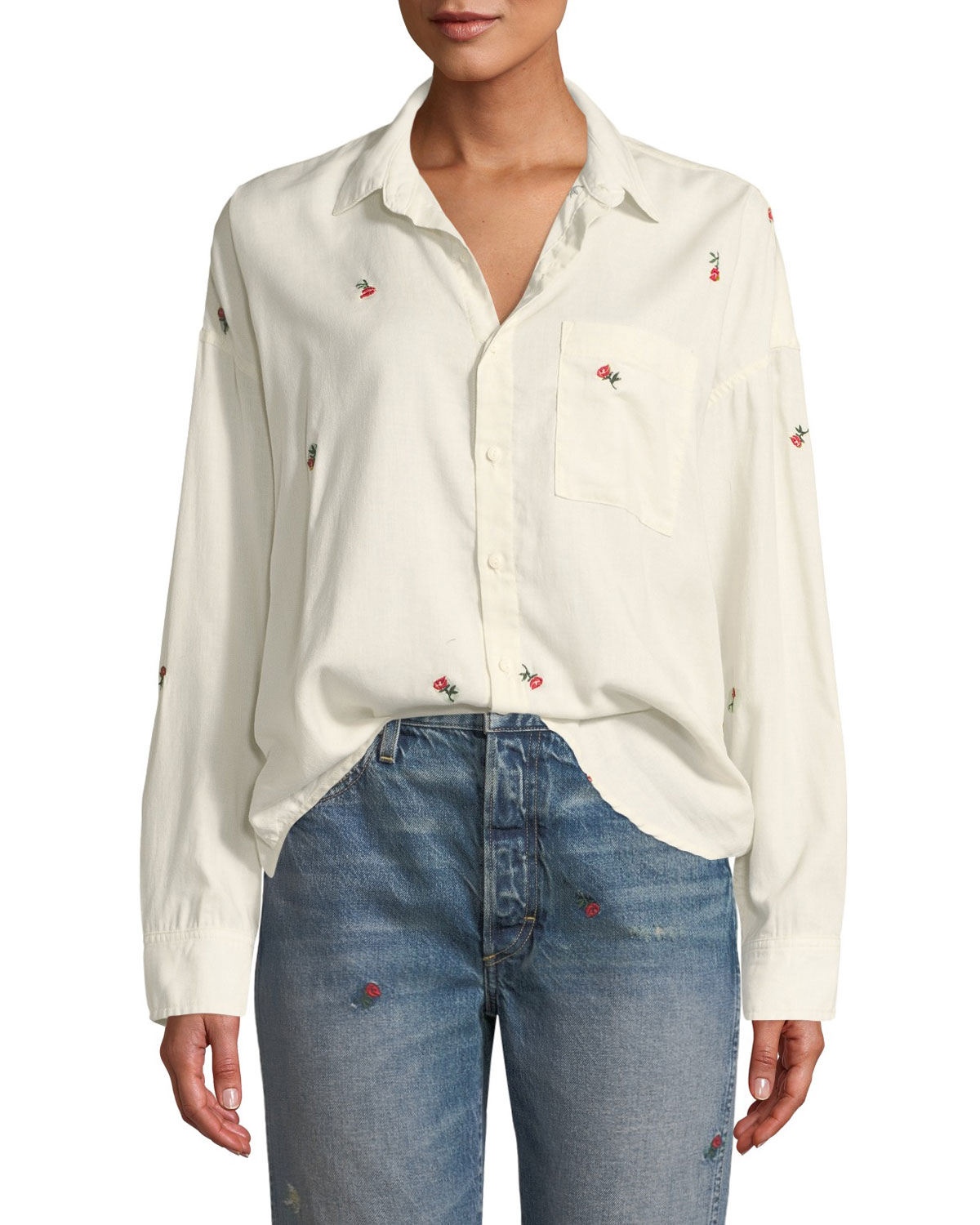 AMO DENIM Embroidered Boxy Button-Down Shirt in White Pattern