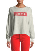 AMO Denim Graphic Dropped-Shoulder Cutoff Sweatshirt