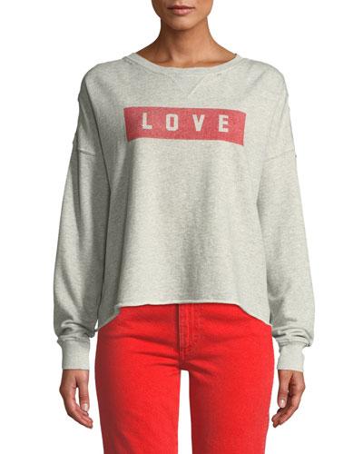Graphic Dropped-Shoulder Cutoff Sweatshirt