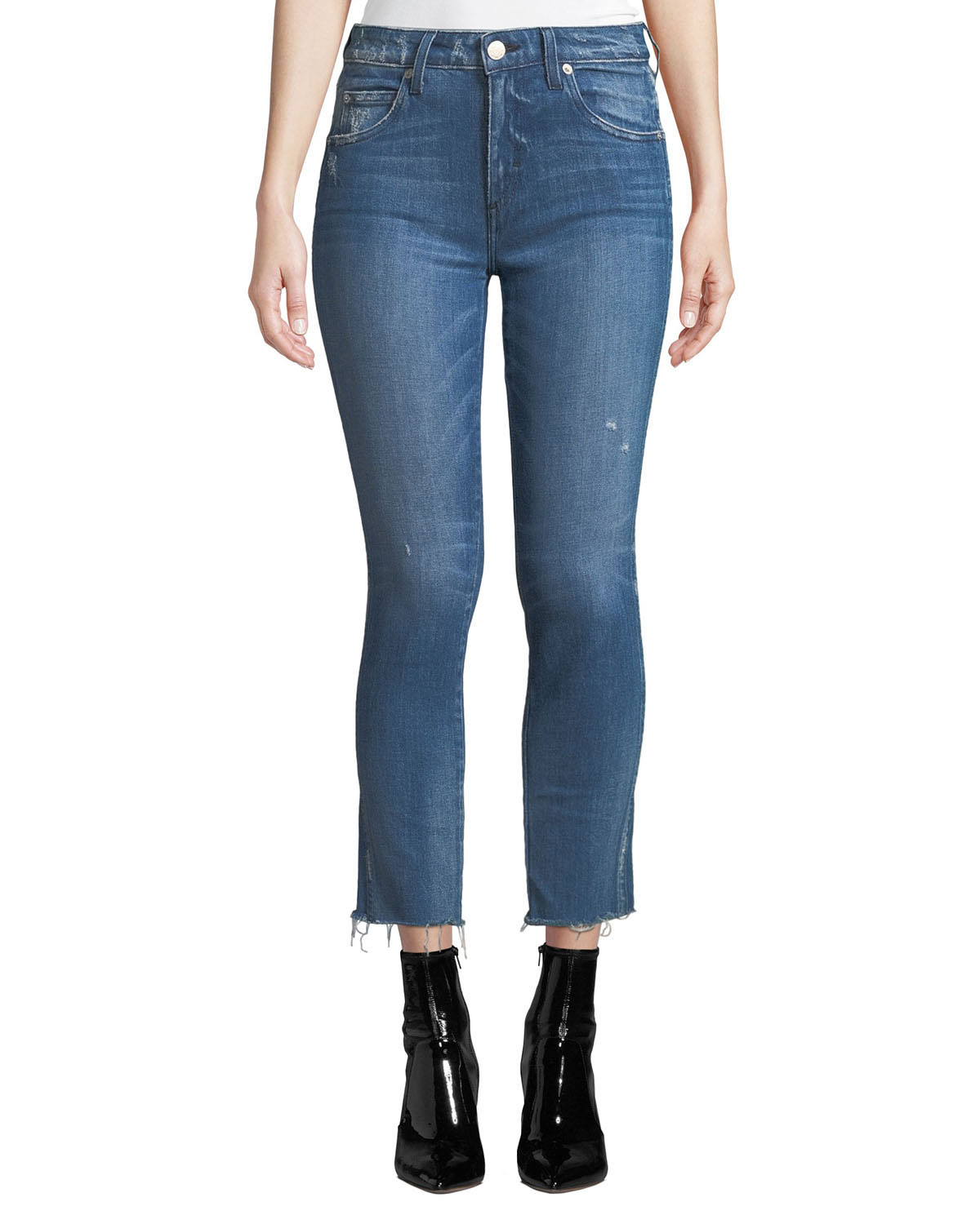 AMO DENIM Stix Mid-Rise Cropped Skinny Jeans in Pacific