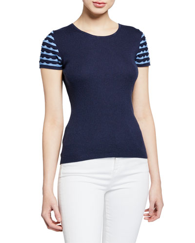 Superfine Jewel-Neck Short-Sleeve Ruffle Stripe Cashmere-Blend Top