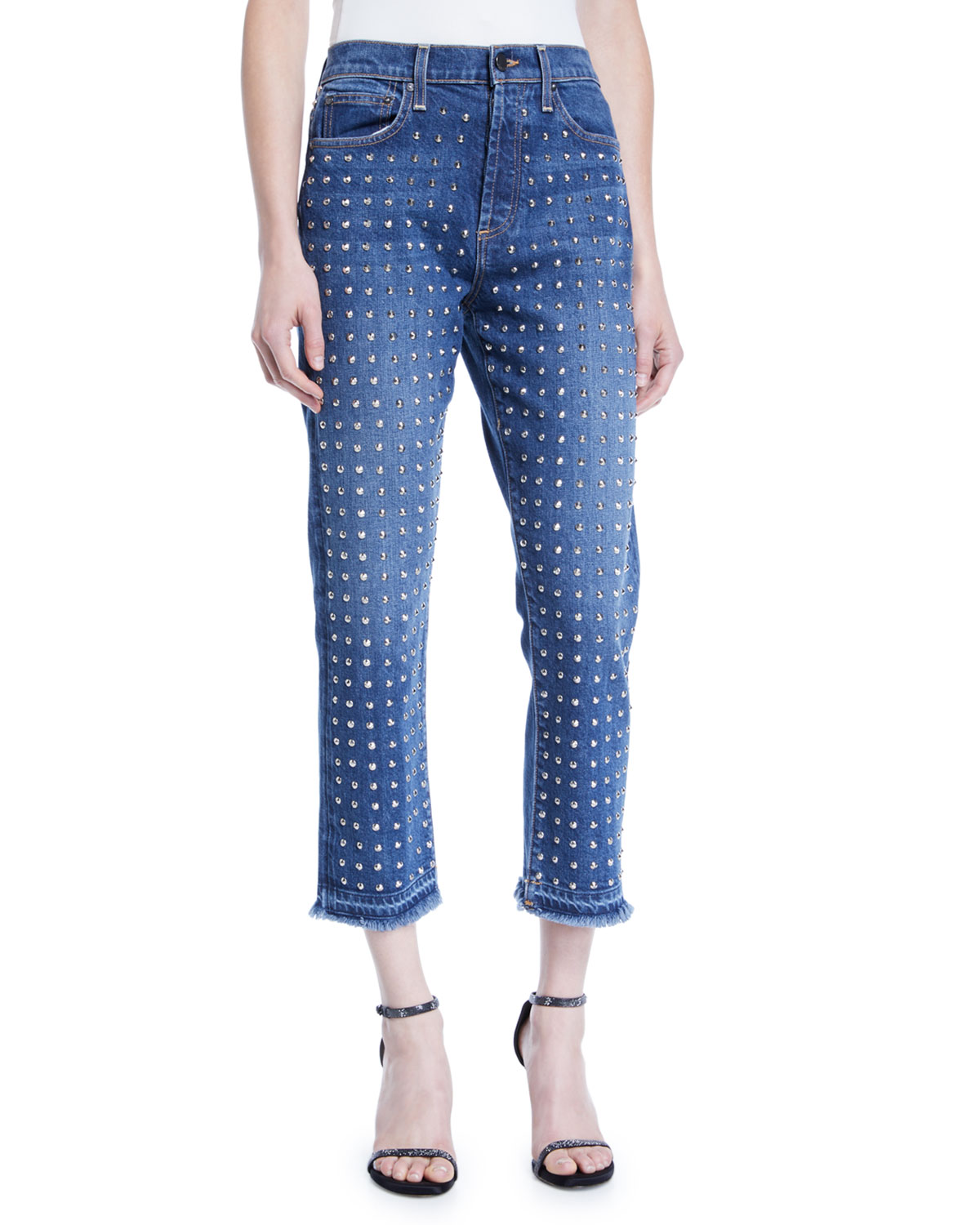 AO.LA BY ALICE+OLIVIA Amazing High-Rise Studded Slim Girlfriend Jeans in Homebound