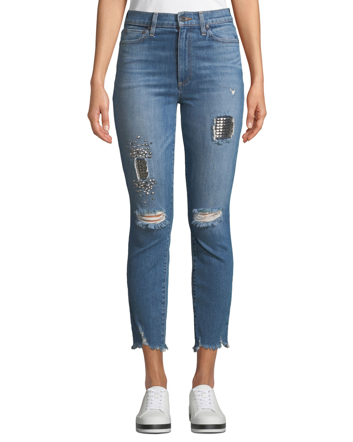 AO.LA BY ALICE+OLIVIA Good High-Rise Studded Ankle Skinny Jeans in True Lies