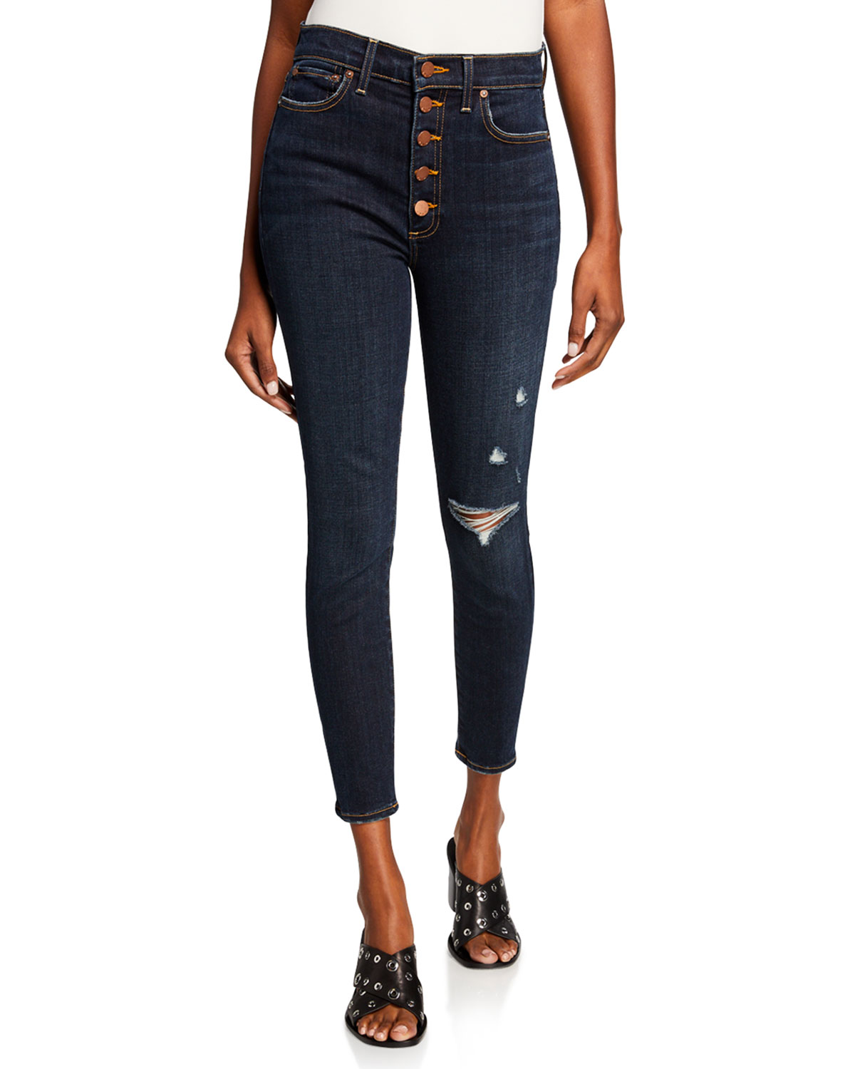 ALICE + OLIVIA JEANS Good High-Rise Exposed Button Skinny Jeans in Make A Move
