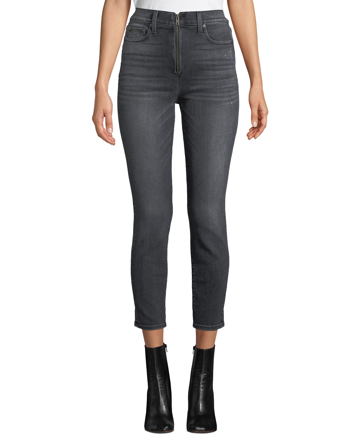 AO.LA BY ALICE+OLIVIA Good High-Rise Ankle Skinny Jeans With Exposed Zip Fly in Black Magic