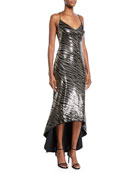 Black Halo Armelle Zebra-Print Sequined High-Low Dress