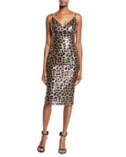 Black Halo Amorie Leopard-Print Sequined Cocktail Dress