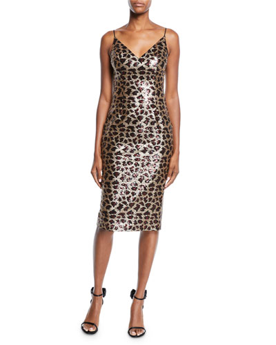 86966e9923c Quick Look. Black Halo · Amorie Leopard-Print Sequined Cocktail Dress