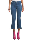 J Brand Selena Mid-Rise Cropped Boot-Cut Jeans with
