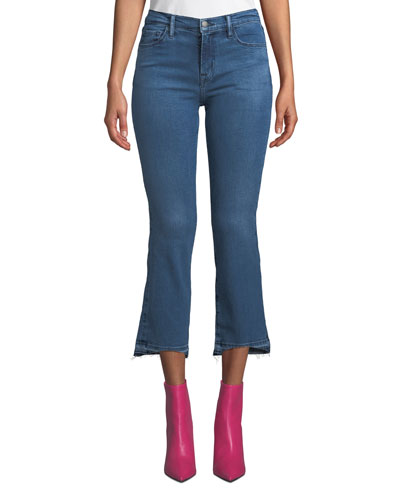 Selena Mid-Rise Cropped Boot-Cut Jeans with Released Hem