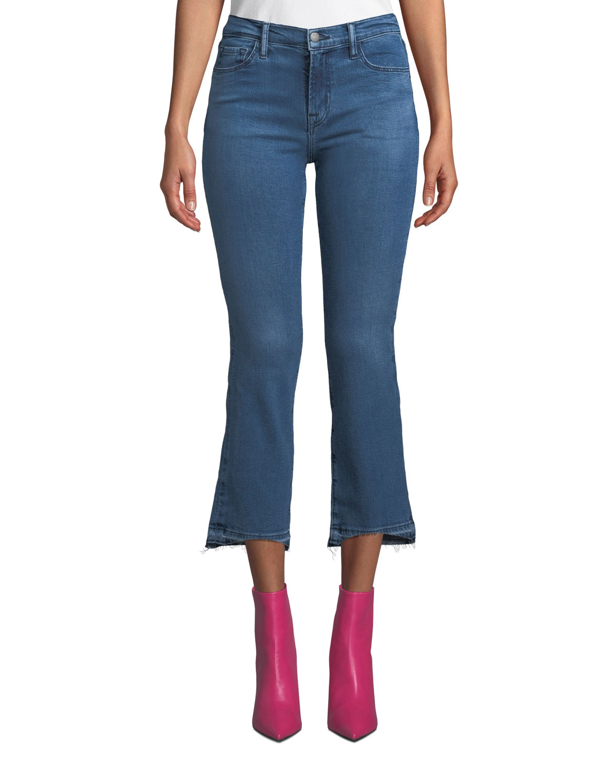 Selena Mid-Rise Cropped Boot-Cut Jeans With Released Hem in Earthy