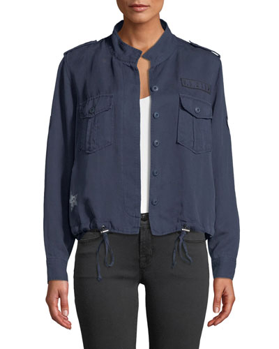 Grant Star-Print Button-Front Military Jacket