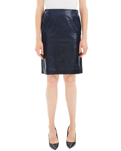 366dfda61 Quick Look. Theory · Clean Leather Knee-Length Pencil Skirt