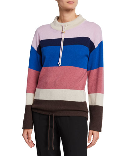 Striped Mock-Neck Cashmere Pullover Sweater