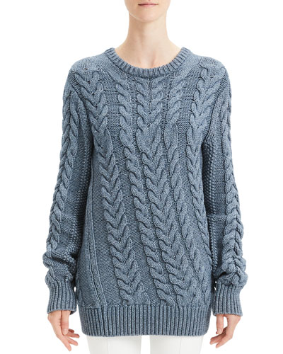 Twisted Cable-Knit Wool-Blend Sweater