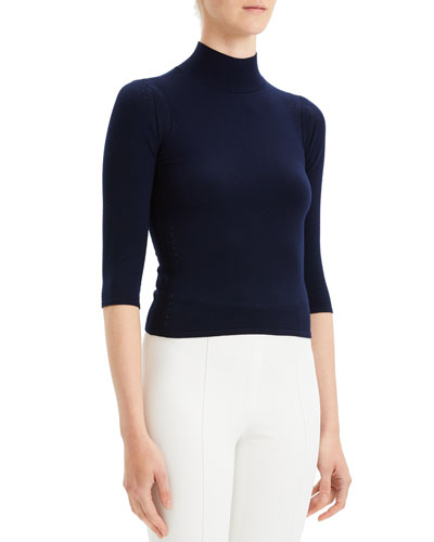 Refine Fitted Turtleneck 3/4-Sleeve Wool Sweater