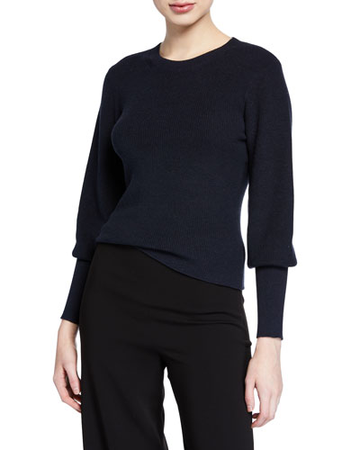 Blouson-Sleeve Ribbed Cotton-Cashmere Sweater