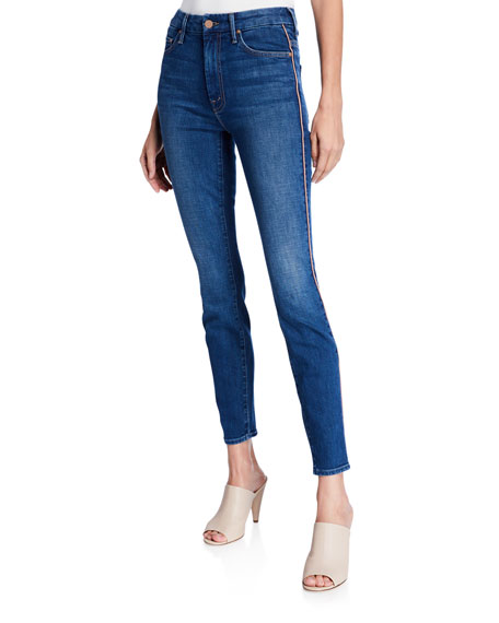 MOTHER Looker High-Waist Ankle Skinny with Metallic Stripes