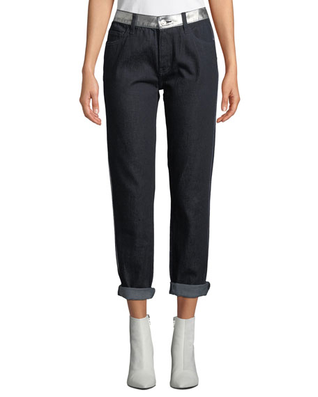 Current/Elliott The Fling Cropped Straight-Leg Jeans with Metallic Stripes