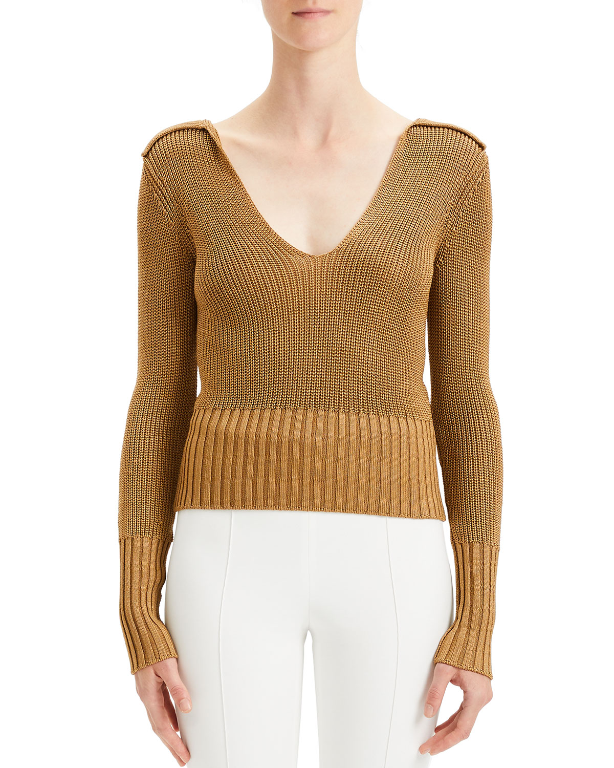 Theory Sweaters BACK-COLLAR LONG-SLEEVE ROVING CROPPED SWEATER
