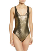 Marie France Van Damme Metallic Jacquard Maillot One-Piece