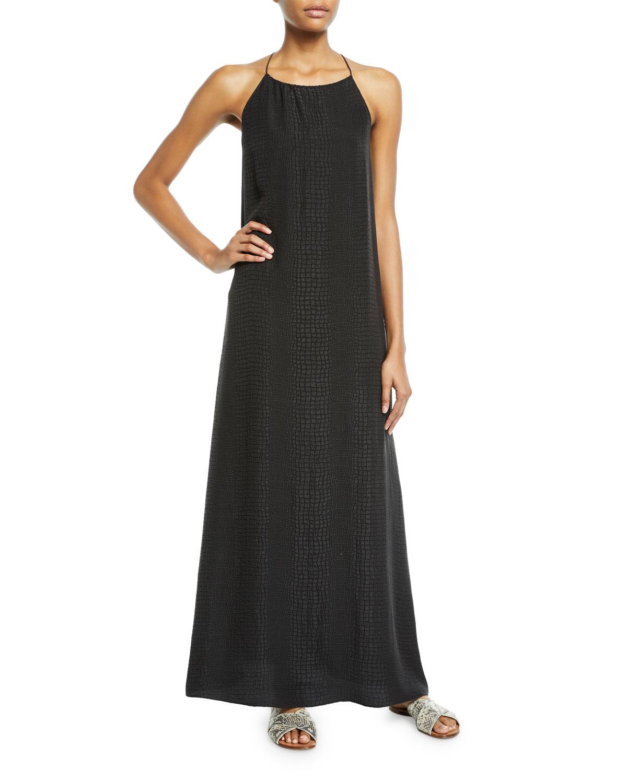 Croco Jacquard Silk Long Sun Dress in Black