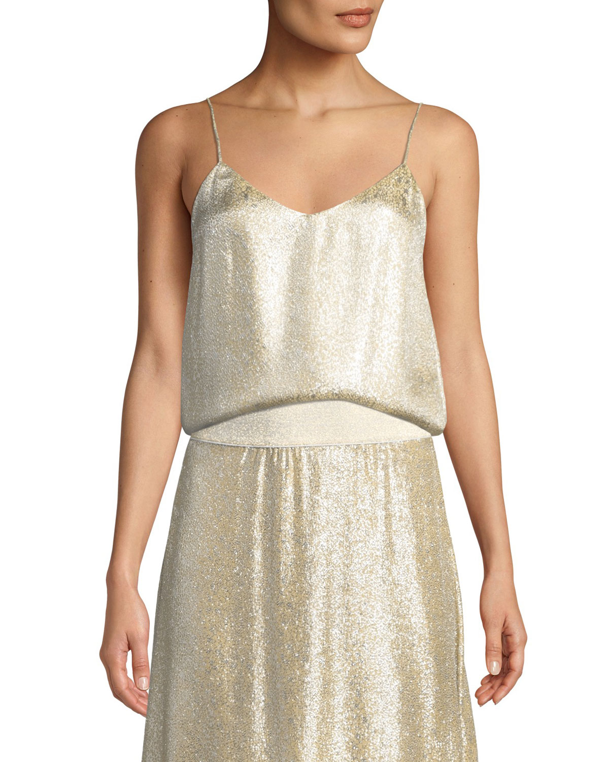 MARIE FRANCE VAN DAMME Metallic Silk V-Neck Cami Top in Yellow