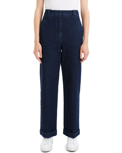 Structured Straight-Leg Cuffed Denim Pants