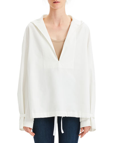 Hooded Boxy Taffeta Pullover Top