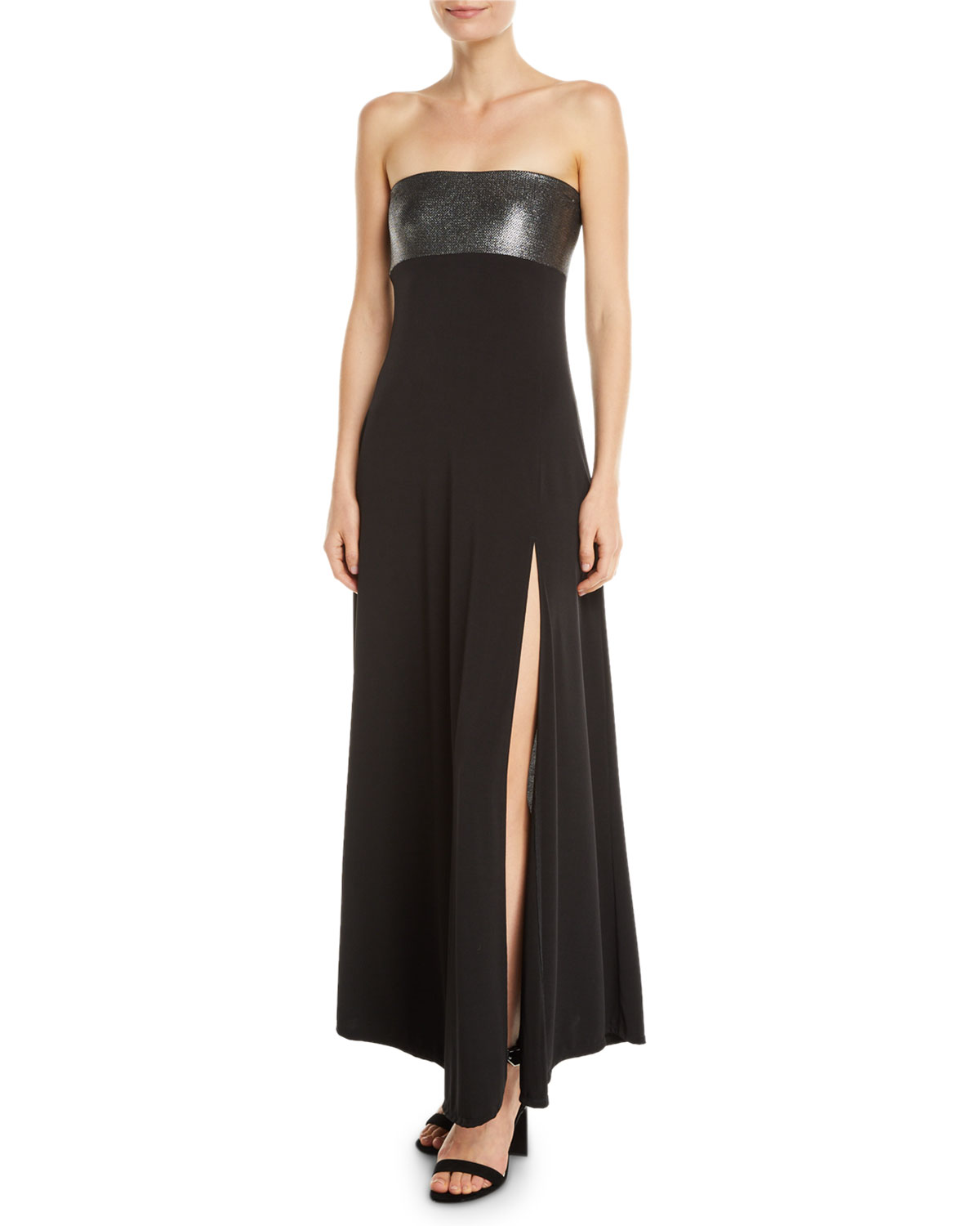 MARIE FRANCE VAN DAMME Strapless Metallic Coverup Maxi Dress in Black