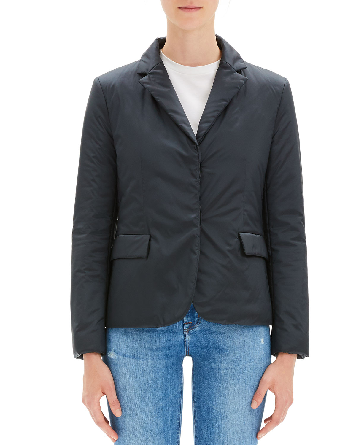 THEORY Button-Front Blazer Puffer Jacket in Pale Navy