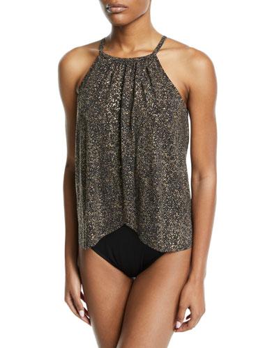 Aubrey High-Neck Metallic One-Piece Swimsuit