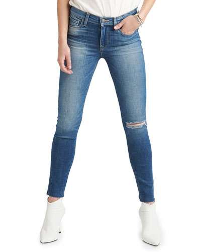 Nico Mid-Rise Raw-Hem Ankle Skinny Jeans