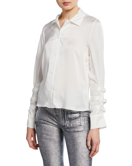 RtA Rafaella Silk Button-Front Top w/ Belted Sleeves