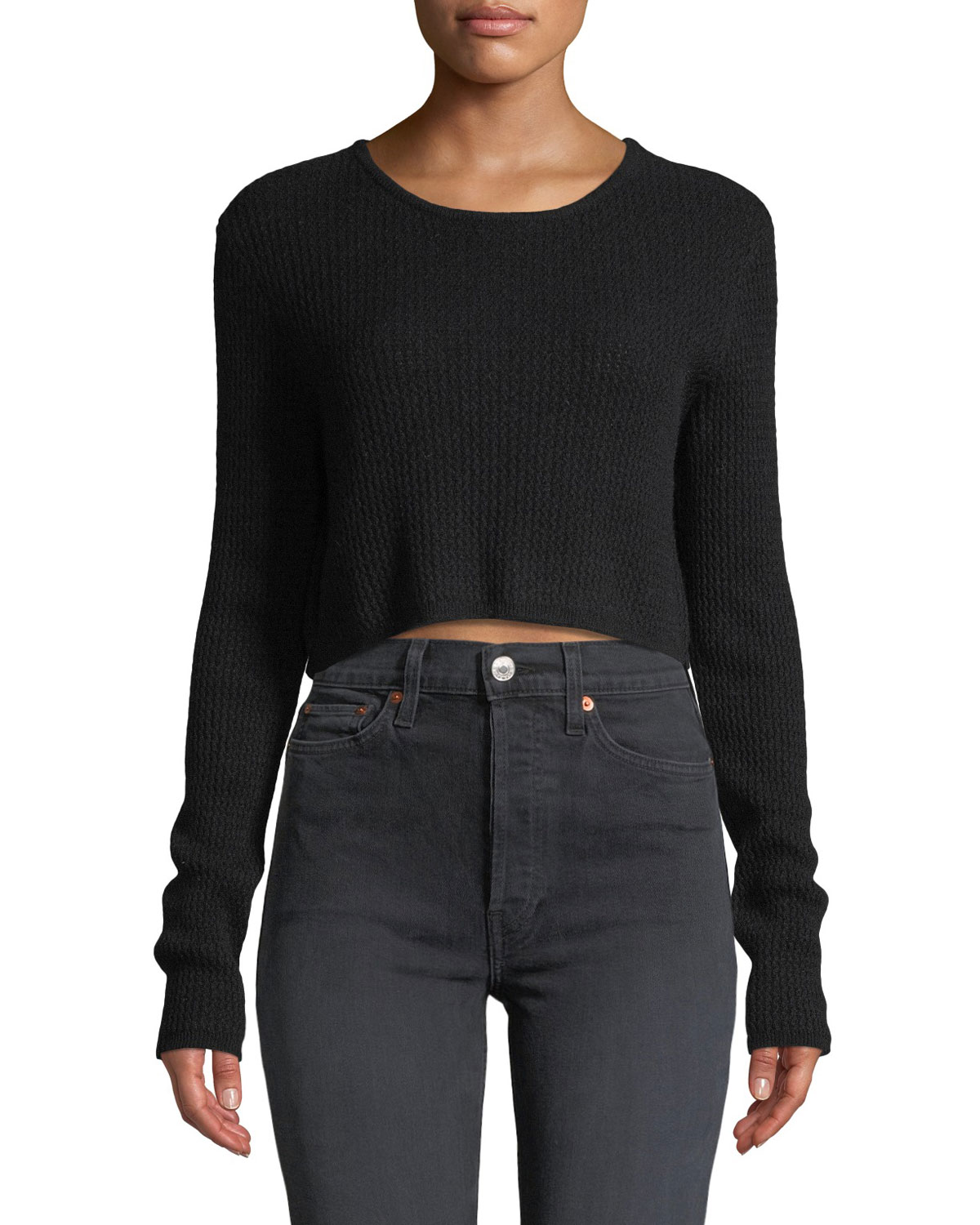 SABLYN Riley Cropped Cashmere Pullover Sweater in Black