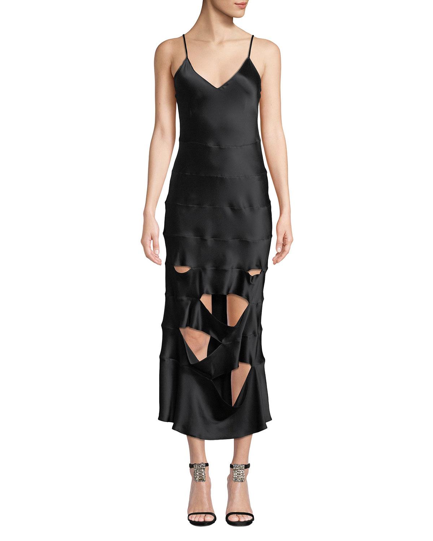 SABLYN Kyle Slashed V-Neck Silk Slip Dress in Black