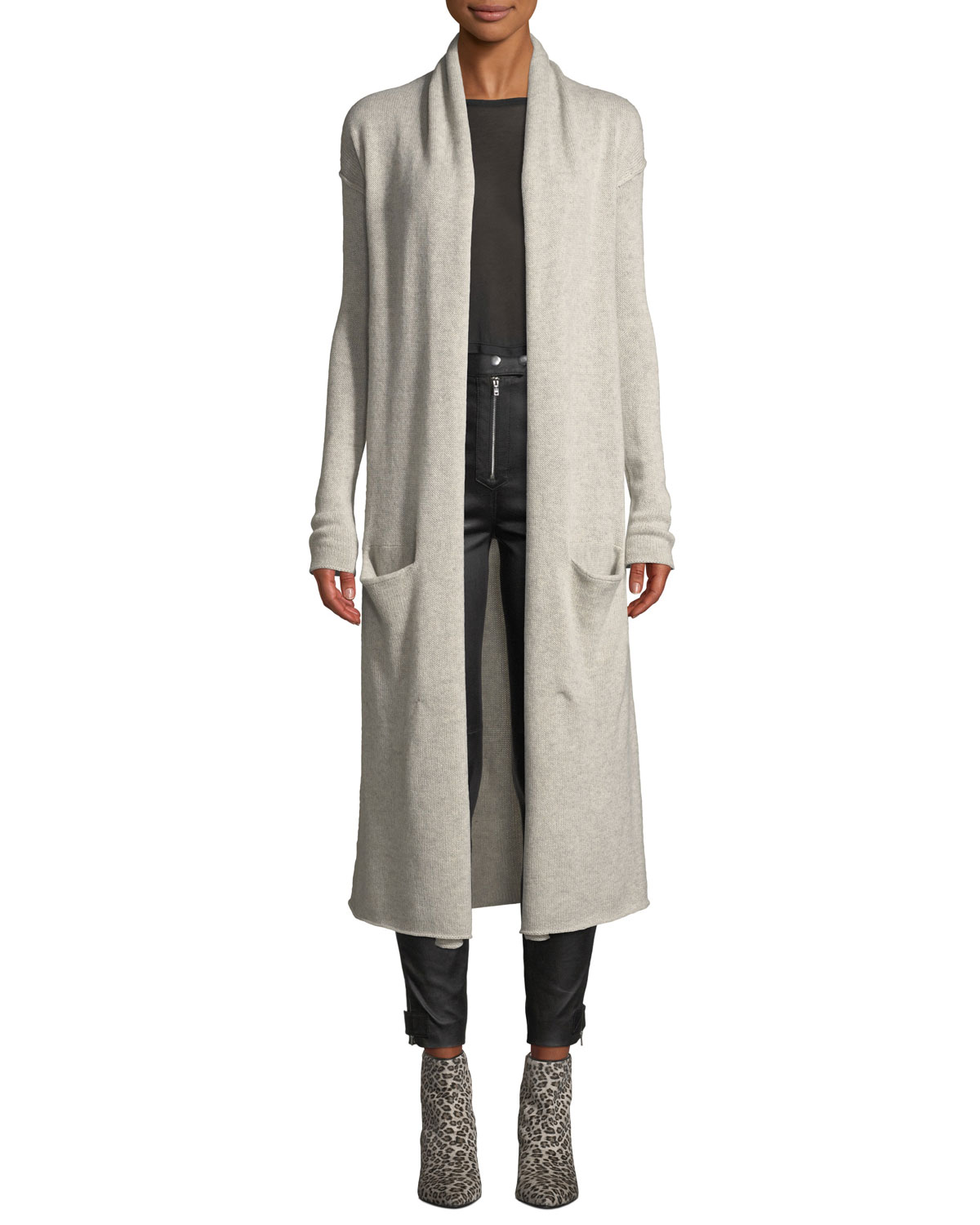 SABLYN Robertson Open-Front Cashmere Long Cardigan in Gray