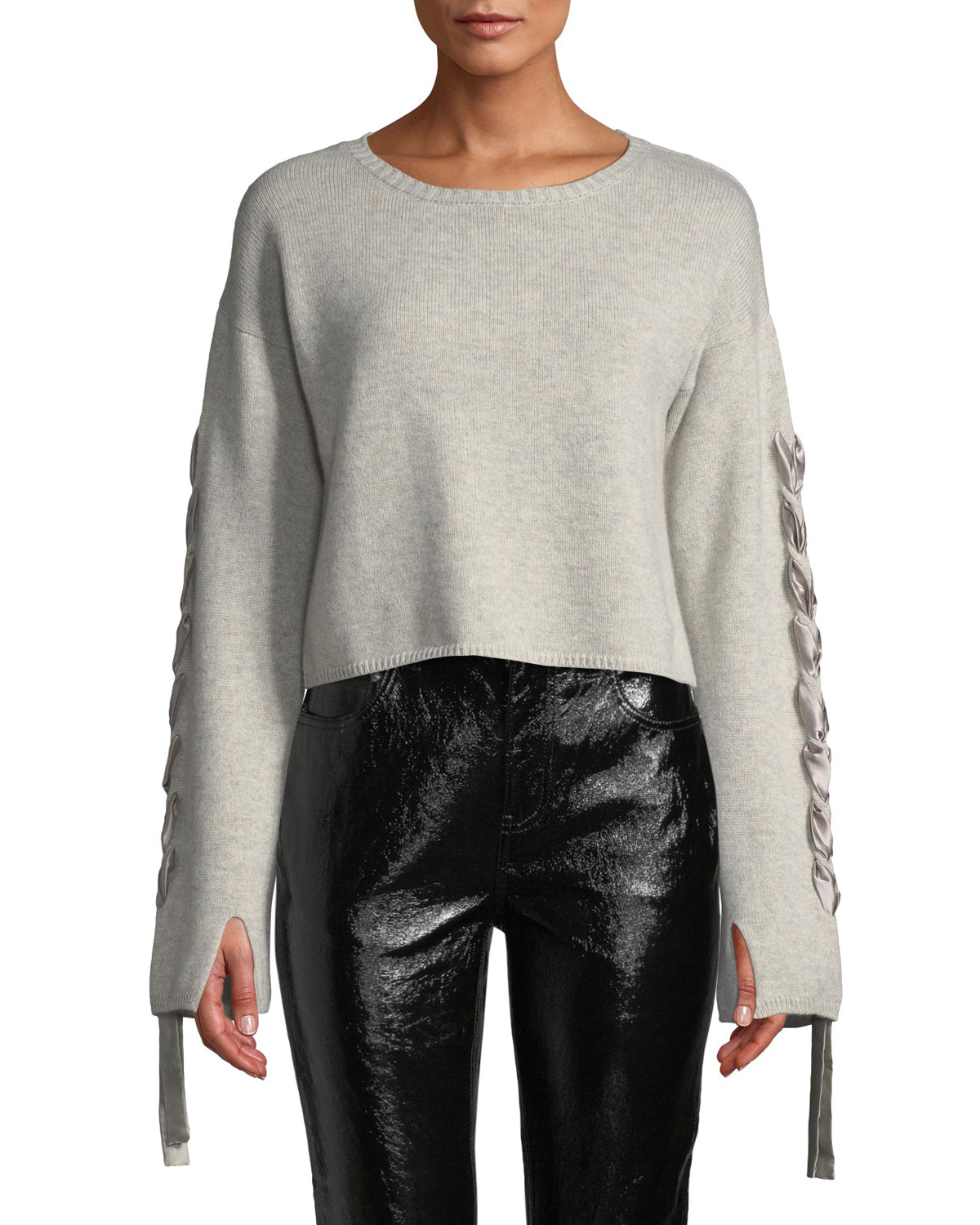 SABLYN Ruby Lace-Up Cropped Cashmere Sweater in Gray