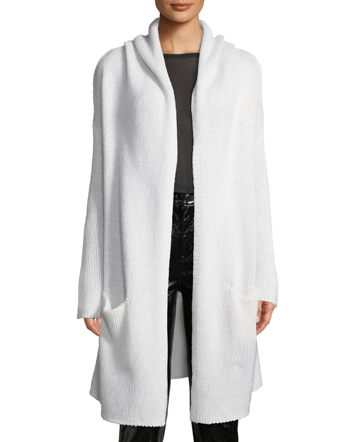 SABLYN Collete Hooded Open-Front Long Cardigan in White