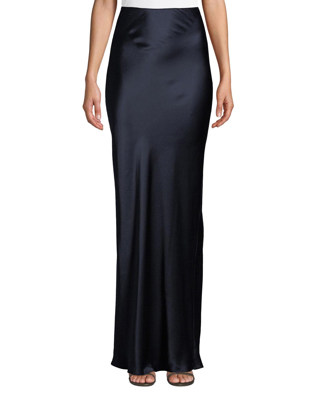 SABLYN Valentina High-Waist Silk Maxi Skirt in Navy